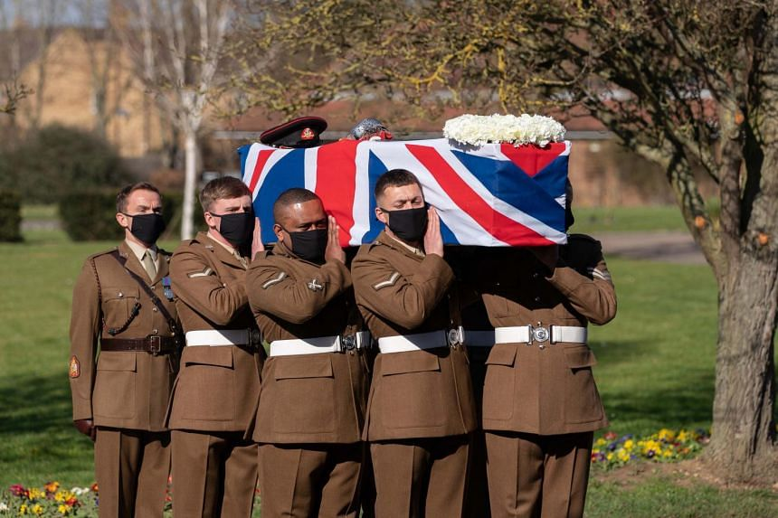 The funeral of Captain Sir Tom Moore in Bedford, Britain, on Feb 27, 2021.