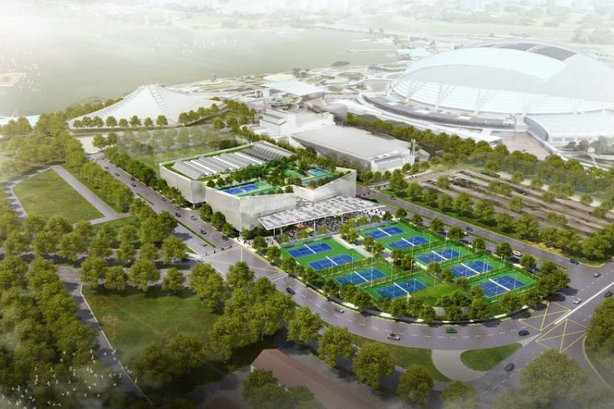 An artist's impression of an aerial view of the future Kallang Tennis Centre, which will be ready by end-2022.