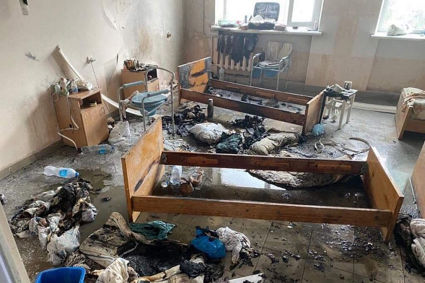 A view of a hospital ward after an oxygen explosion in the western Ukrainian city of Chernivtsi on Feb 27, 2021.