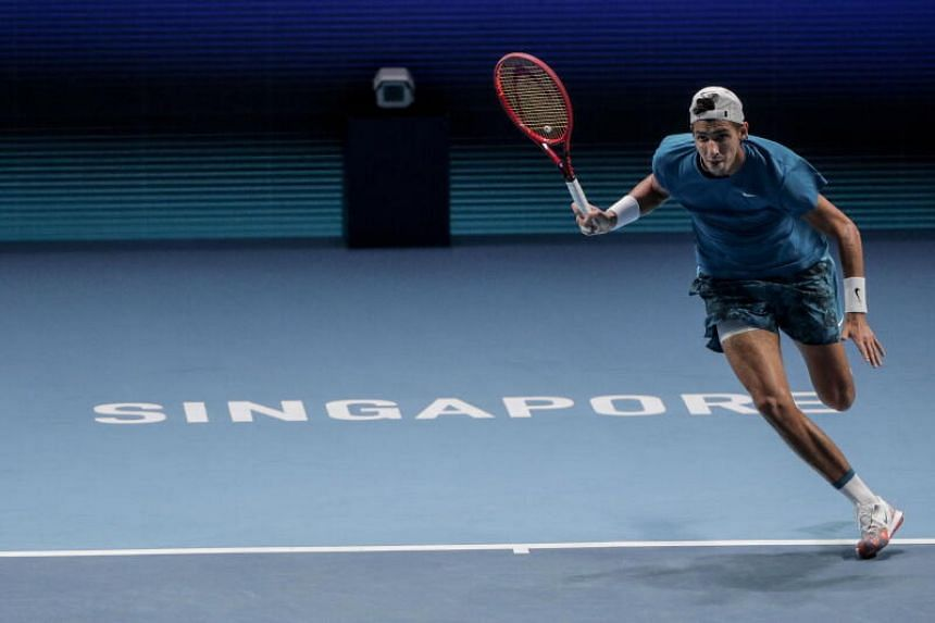 Alexei Popyrin in action during the men's singles semi finals match of the Singapore Tennis Open ATP 250 at OCBC Arena in Singapore, on Feb 27, 2021.