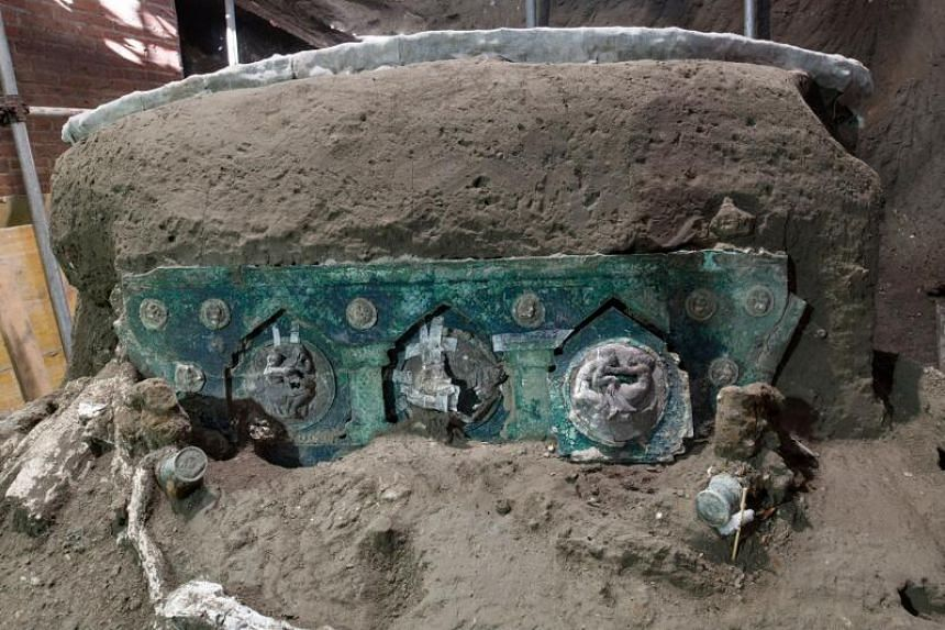 The four-wheeled processional carriage was found in the portico to stables where the remains of three horses were unearthed in 2018.