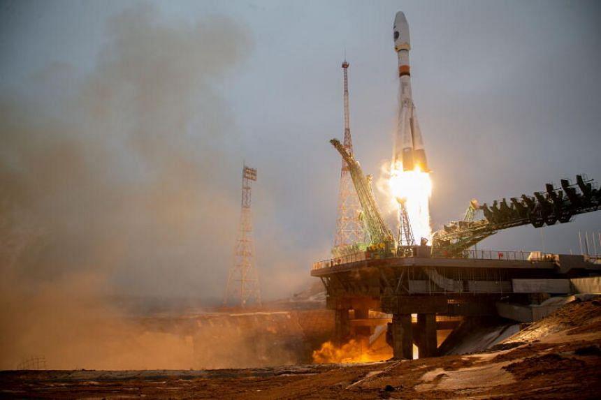 The Soyuz spacecraft with the Arktika-M satellite blasting off from the Baikonur Cosmodrome in Kazakhstan on Feb 28, 2021.