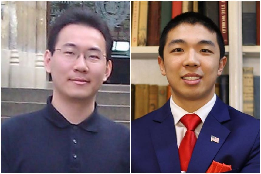 The New Haven Police Department said it had secured an arrest warrant charging MIT graduate student Pan Qinxuan (left) with the murder of Mr Kevin Jiang.