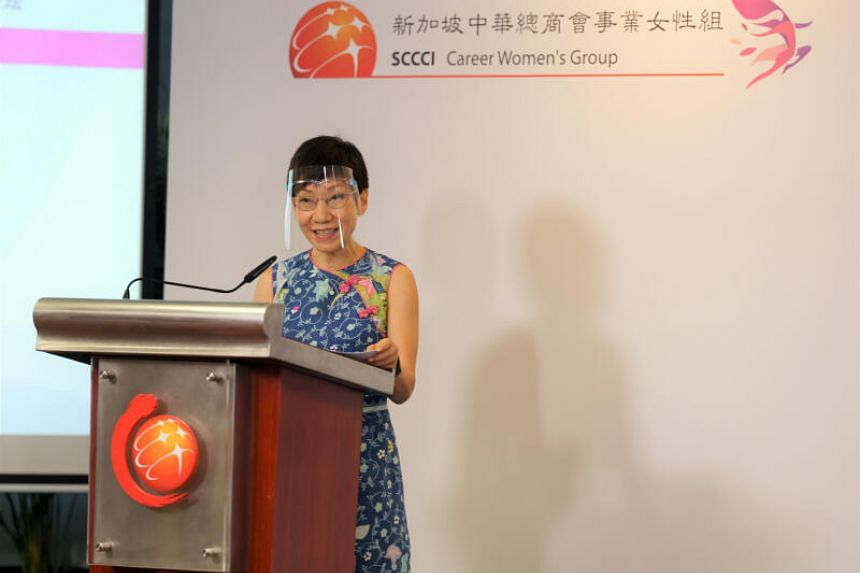 Minister for Sustainability and the Environment Grace Fu delivering her address at the International Women's Day 2021 Conference on Feb 28, 2021.