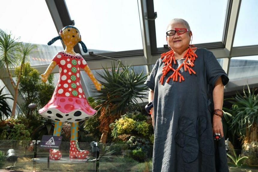 Ms Lee Tuan and the Yayoi Kusama sculpture, Kei-Chan, which she donated to the Flower Dome at Gardens By The Bay, on Feb 26, 2021.