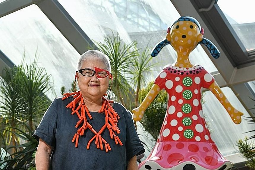 Art collector Lee Tuan, 81, with Kei-Chan, a 2.6m-tall sculpture by Japanese artist Yayoi Kusama. It is being unveiled today.