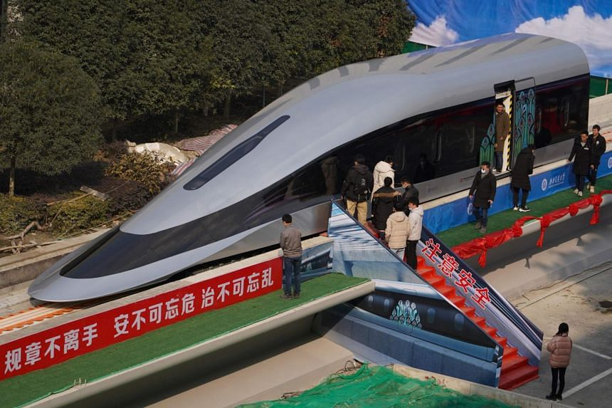 A prototype of a maglev train in Chengdu, China, on Jan 13, 2021.