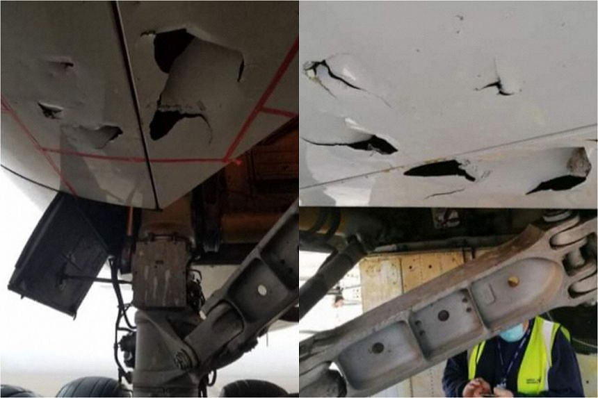 The Aviation Herald suggested that the damage was caused by stones that were thrown upwards by aircraft wheels.