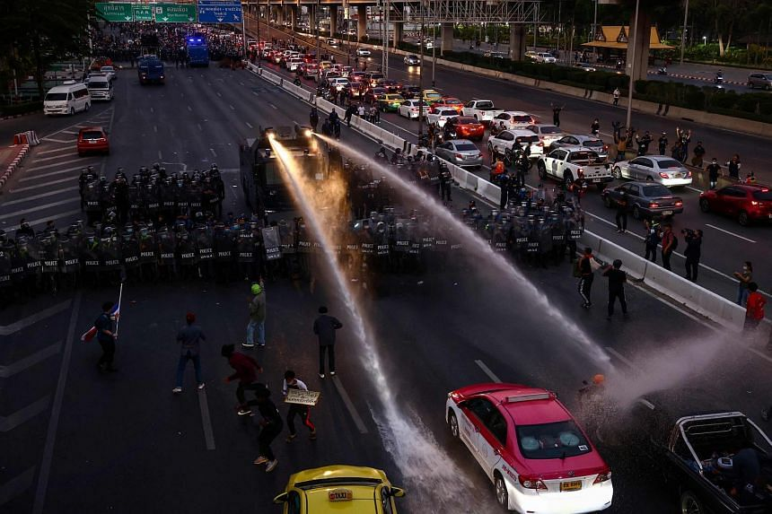 Water cannon being used to disperse demonstrators during a protest in Bangkok, Thailand, on Feb 28, 2021.