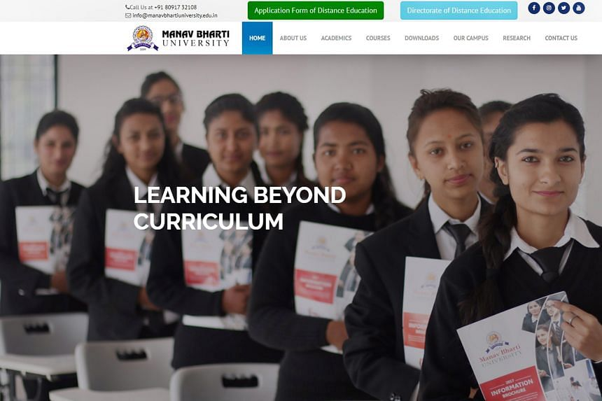 A screenshot of Manav Bharti University's website. Investigators say the university in the northern state of Himachal Pradesh sold degrees through agents to students in 17 states.