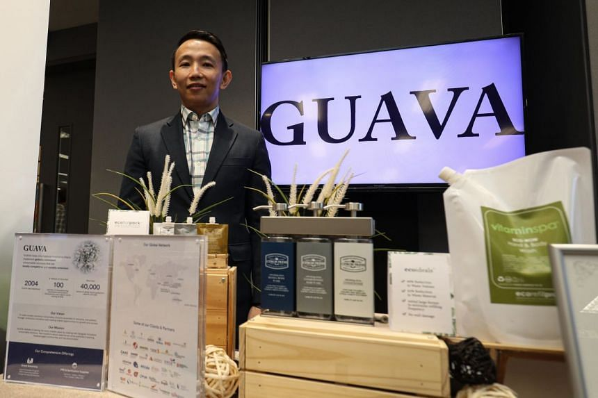 Guava Amenities co-founder and director Gabriel Tan with some of the products that the firm offers. Help from the Singapore Business Federation has been key to the firm acquiring a significant presence in Vietnam.