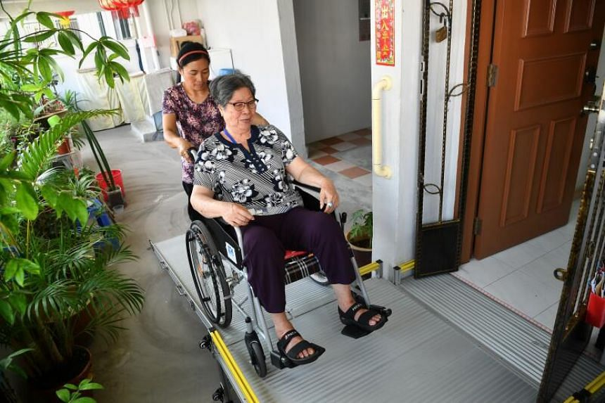 Madam Lai Swee Lian said the customised ramp at her front door has lifted her quality of life.