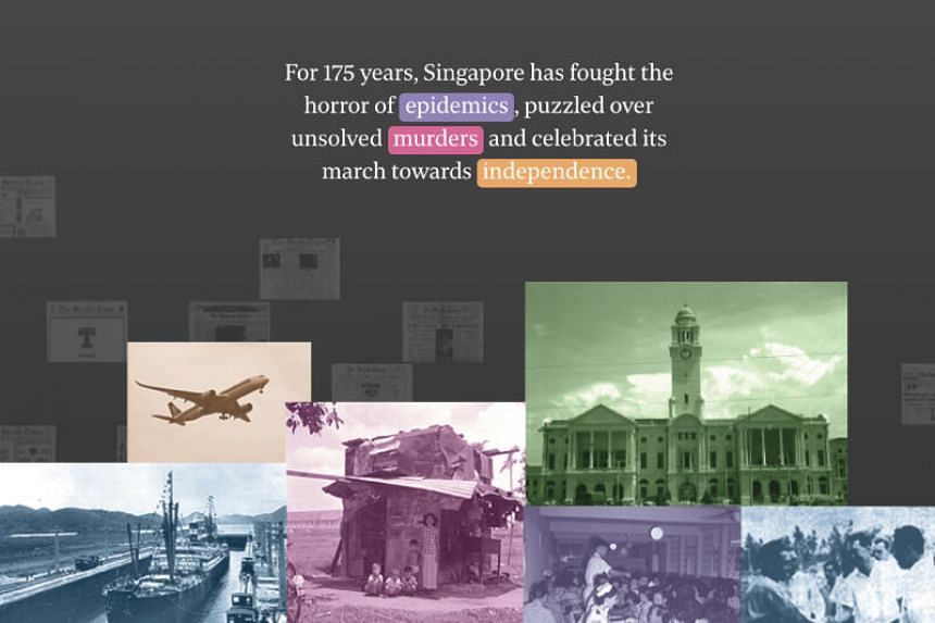 """ST interactive graphic """"From 1845 to 2020: Singapore and the world through ST headlines"""" won the Award of Excellence for Infographics: Local Issues."""