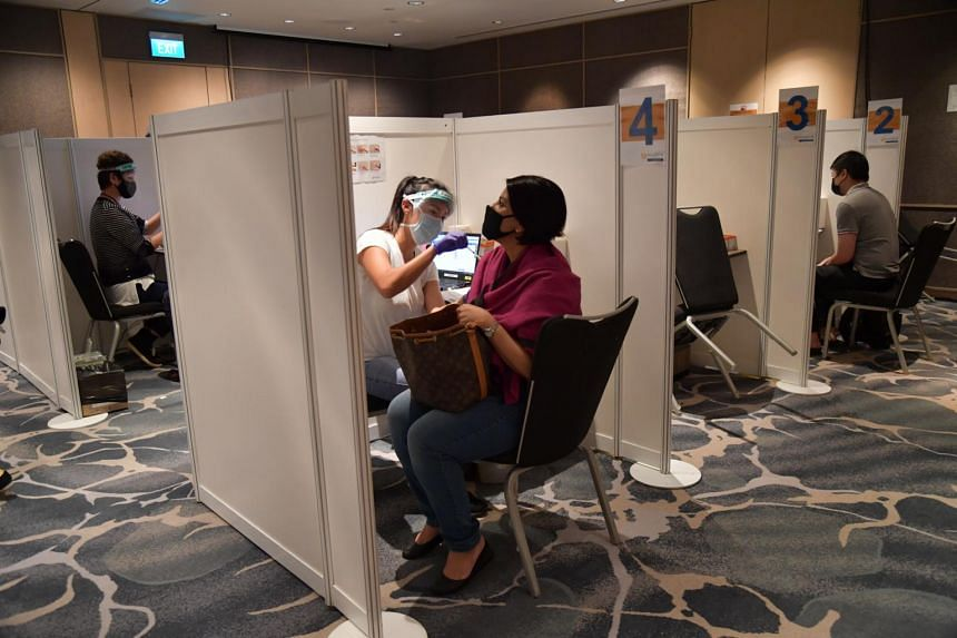 The Covid-19 vaccination centre at Raffles City Convention Centre on Jan 28, 2021.