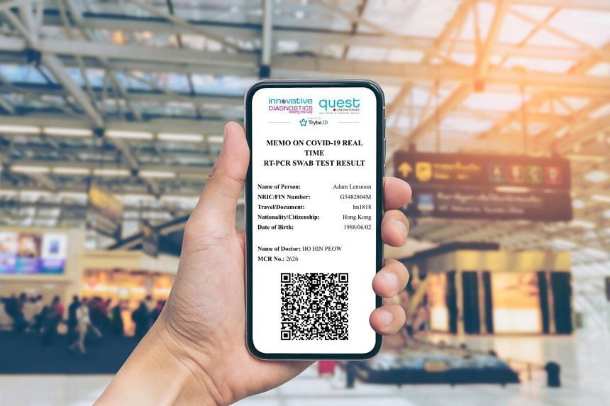 A notarised digital certificate containing a QR code will be sent to the traveller's SingPass Mobile app or e-mail address.