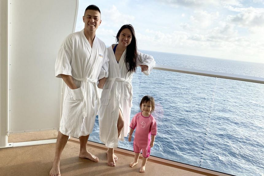 Ms Serene Tan with husband Jingwei Chia and daughter Avery on board Quantum of the Seas.