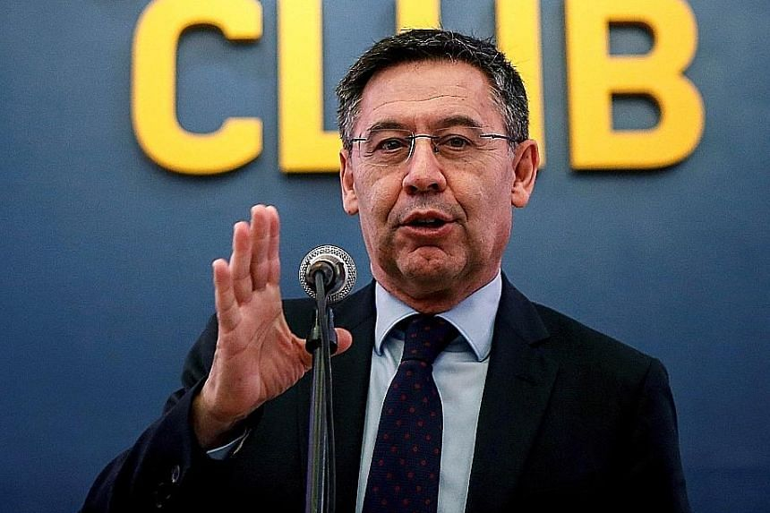 "Josep Maria Bartomeu, 58, was one of four former and current Barcelona officials arrested on Monday in connection with ""Barcagate""."