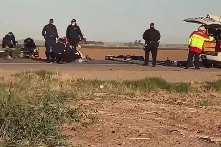 Fourteen people were found dead at the scene (above, in a screenshot from video), and one later died at a medical centre.