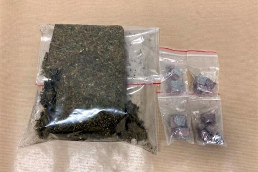 Heroin and cannabis seized in the vicinity of Jalan Bukit Merah in a CNB operation on March 2, 2021.