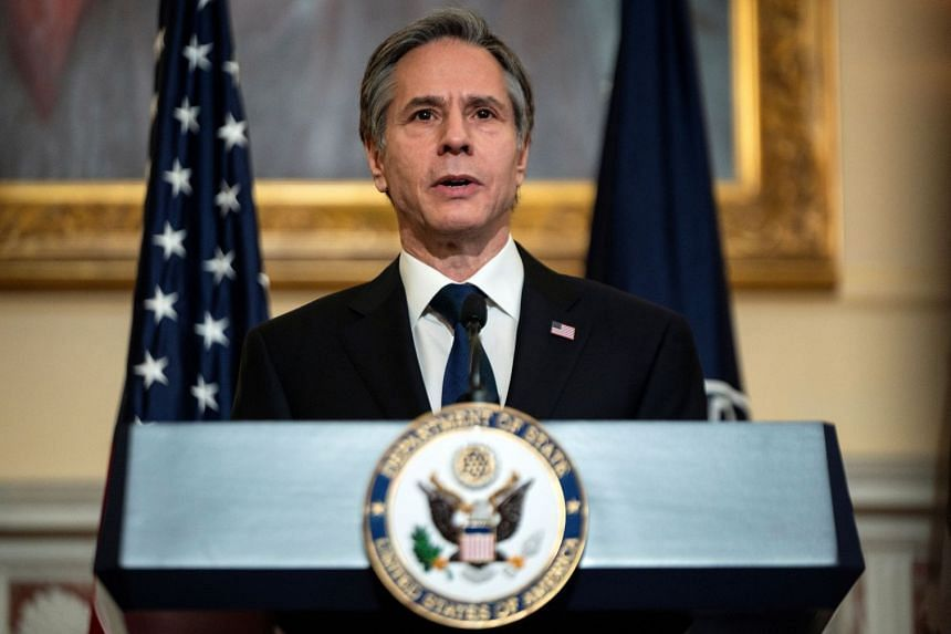 Antony Blinken delivers remarks about priorities for the Biden administration in Washington, on March 3, 2021.