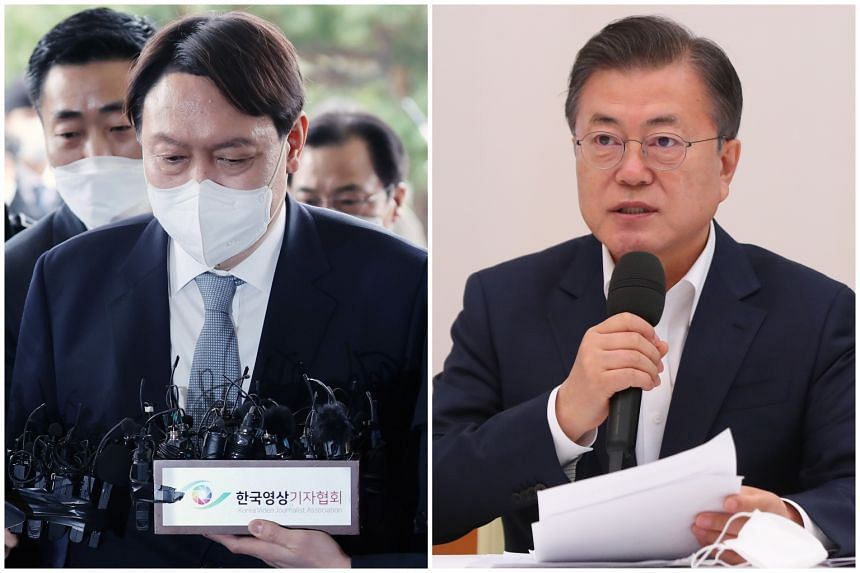 The resignation could open a path for Mr Yoon Seok-Youl (left) to run for president in the March 2022 elections to replace President Moon Jae-in.