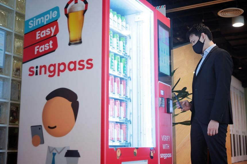 Customers will use the SingPass mobile app to scan a QR code on a vending machine, then verify their identity with the app to purchase the alcoholic beverage.