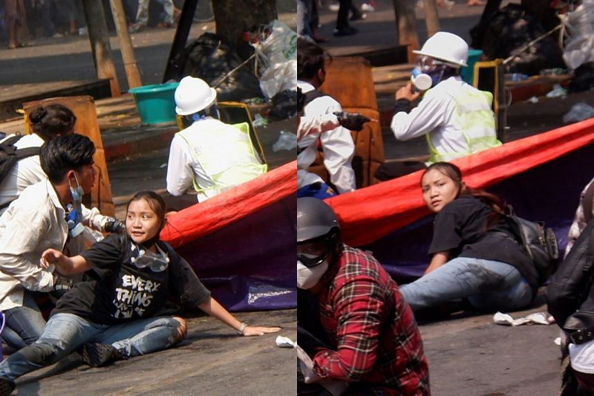 Angel's T-shirt message (left) quickly went viral on social media. Pictures taken before she was killed (right) show the 19-year-old  lying down for cover beside a protest banner.
