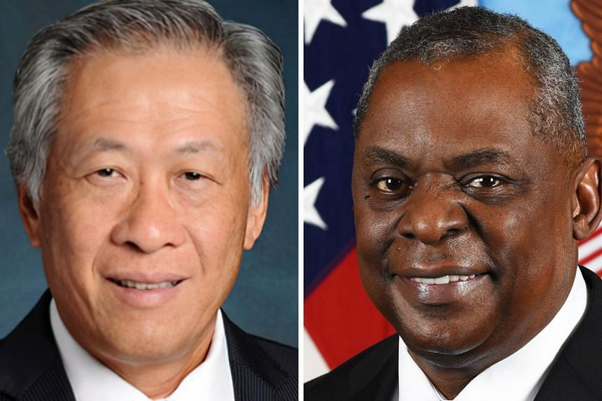 Singapore's Minister for Defence Ng Eng Hen (left) and US Secretary of Defence Lloyd Austin.