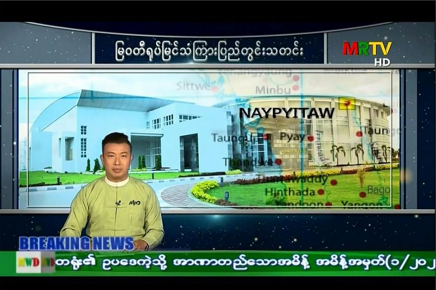 The channels taken down include the state network, MRTV (Myanma Radio and Television).