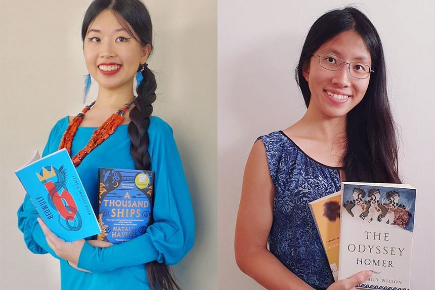 In ST's Bookmark This! Podcast: Olivia Ho (left) with Beowulf, translated by Maria Dahvana Headley, and A Thousand Ships by Natalie Haynes; and Toh Wen Li (right) with Where The Wild Ladies Are by Aoko Matsuda, translated by Polly Barton, and The Ody
