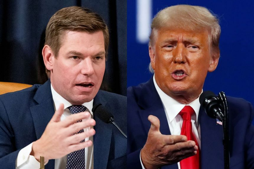 Democratic congressman Eric Swalwell  (left) has targeted Trump (right) in his suit, as well as Trump's son, Donald Jr, Trump lawyer Rudy Giuliani and a Republican lawmaker.