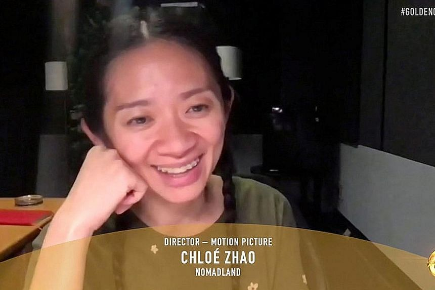 Ms Chloe Zhao is the first Asian woman to win the best director Golden Globe and the first woman to win best drama. PHOTO: REUTERS
