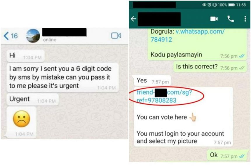 Example of a WhatsApp message sent by a scammer (left) and example of phishing link sent by a scammer to phish for bank credentials.