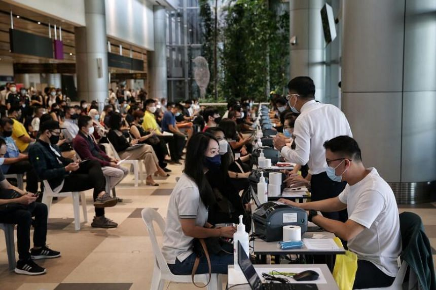 Measures have been put in place to regulate the flow of individuals throughout the vaccination process at Changi Airport Terminal 4.