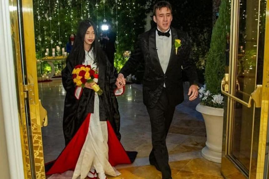 """Nicolas Cage married Ms Riko Shibata at a """"very small and intimate wedding"""" in Las Vegas in February."""