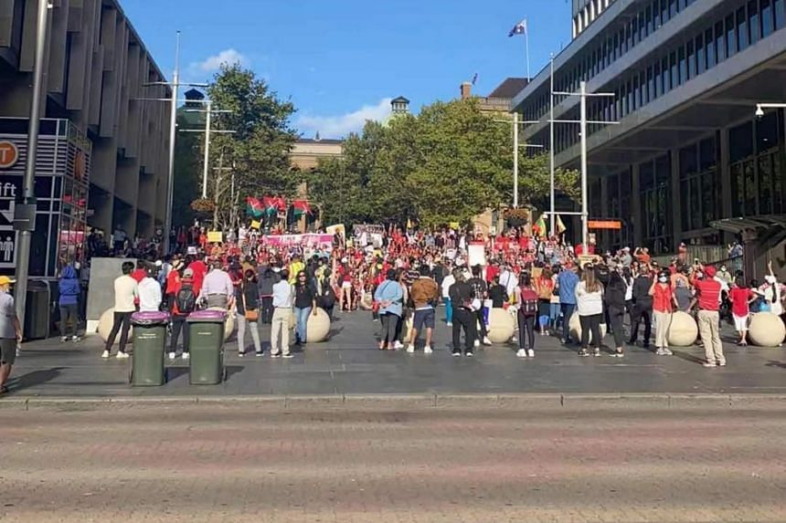 Hundreds of people gathered in Sydney over the weekend urging the Australian government to take a strong stance against the coup.