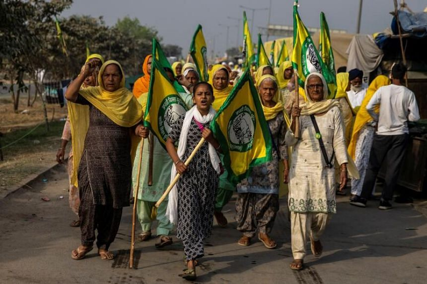 Women farmers protesting against farm laws on the occasion of International Women's Day at Bahadurgar on March 8, 2021.
