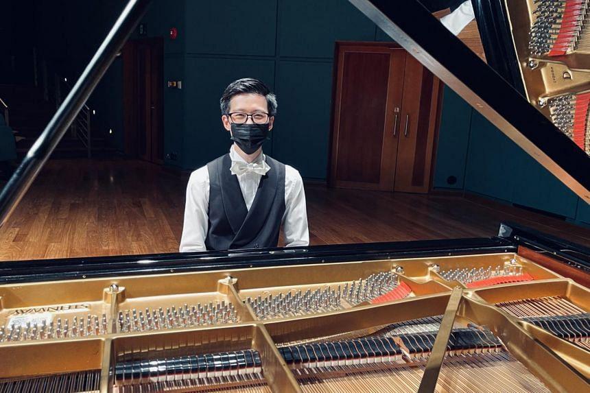 Pianist Mark Cheng at his debut recital, Mark Cheng In Recital, in the Esplanade Recital Studio on March 3, 2021.