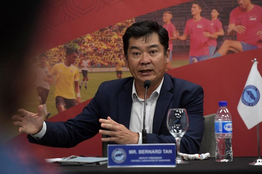 Football Association of Singapore deputy president Bernard Tan during a press conference on March 9, 2021.