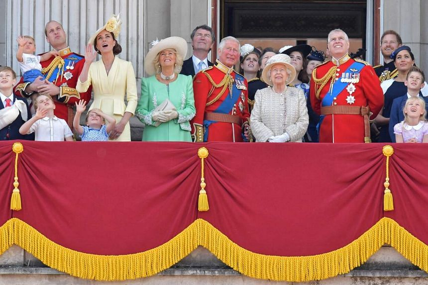 Britain's royal family watching a Royal Air Force flypast on the balcony of Buckingham Palace in 2019.