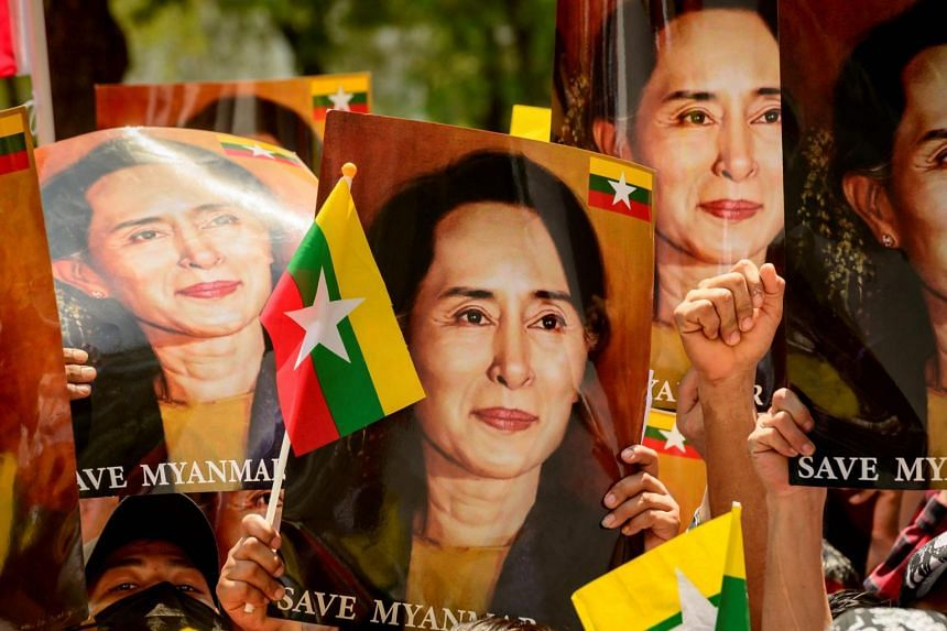 Britain has called for the release of Ms Suu Kyi and other leaders toppled in a Feb 1 military coup.