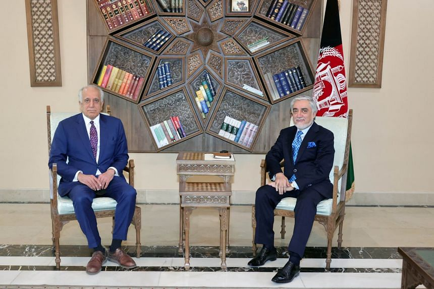 """The US special envoy for Afghanistan, Zalmay Khalilzad (left), shared the """"Transitional Peace Government"""" proposal last week."""