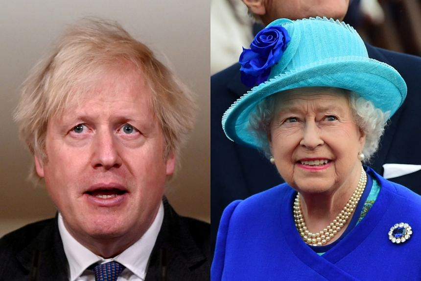 British PM Boris Johnson (left) said he would not be drawn on the racism accusations, and spoke only of his admiration of Queen Elizabeth.