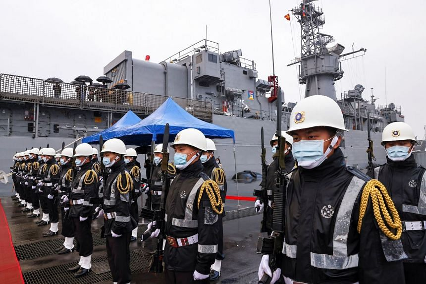 Navy soldiers aboard the ROCS Lan Yang frigate in Keelung, Taiwan, on March 8, 2021.