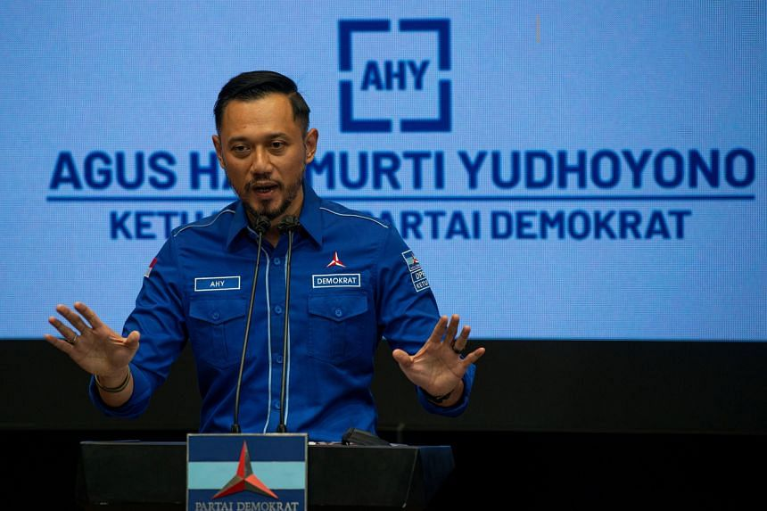 Chairman of the Democratic Party Agus Harimurti Yudhoyono delivers a speech during a news conference in Jakarta on March 5, 2021.