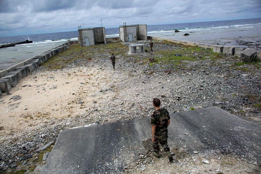 French soldiers in the  Mururoa atoll of French Polynesia, where French forces conducted nuclear weapon tests.
