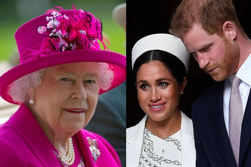 """The Queen (left) said that Harry and Meghan and their son Archie """"will always be much loved family members""""."""