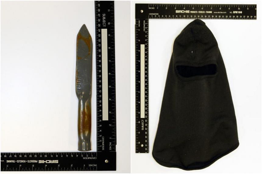 A replica knife made to practise stabbing motions and grip techniques (left) and a ski mask he had bought in March 2020.
