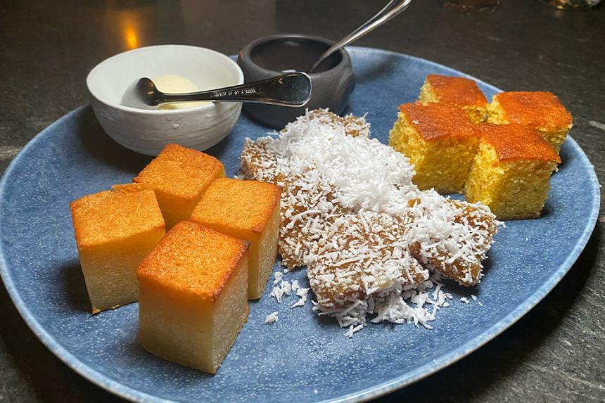 Dessert Sampler with Kueh Kosui and sugee cake, from chef Damian D'Silva's new restaurant Kin.