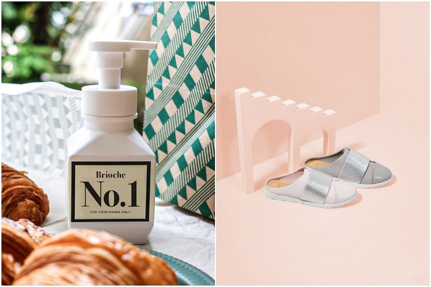 Tiong Bahru Bakery's hand wash (left) and DMK's shoe collection for International Women's Day.